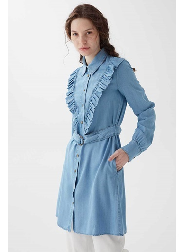 Vivencia Fırfır Detaylı Kadın Tensel Tunik Buz Mavisi Mavi